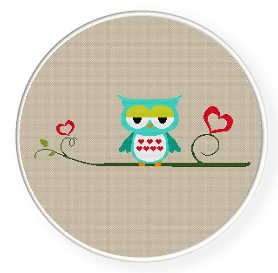 INSTANT DOWNLOAD,Free shipping,Cross stitch,blue owl in love,zxxc0002