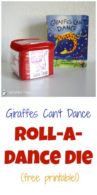 Giraffes Can't Dance Roll-a-Dance Die (free printable!) Books become even better when you pair them with fun activities!  See what we did to go along with this month's Monthly Crafting  Giraffes Can't Dance  Book Club selection!