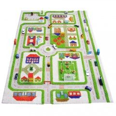 3D Play Rug Overview of Traffic Green