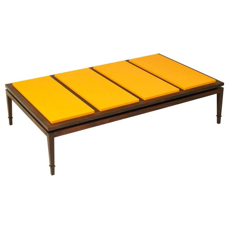 rosewood and yellow leather coffee table