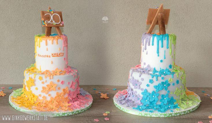 #royalicing #fondant #eiweißspritzglasur #jubiläum #überraschung #rainbow #regenbogen #cake #torte #staffelei #blumen #flowers #blossoms #blüten #gelb #orange #lila #rosa #blau #grün #ginkgowerkstatt