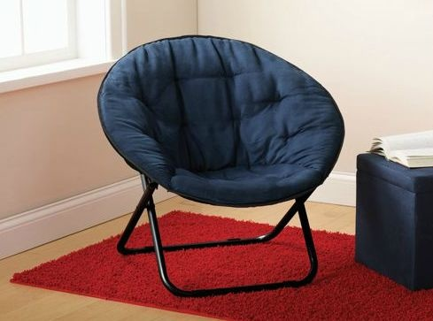 microsuede round folding papasan style chair lounge blue