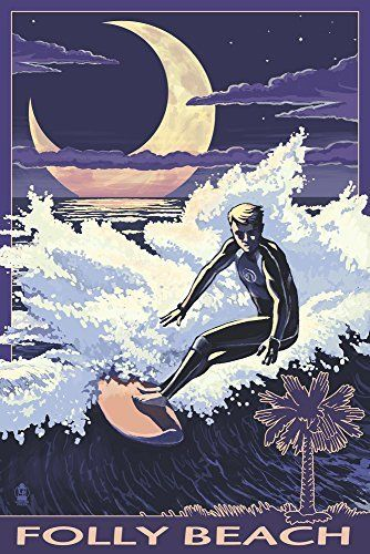 Folly Beach, SC - Surfer with Palmetto Moon (12x18 Art Print, Wall Decor Travel Poster)