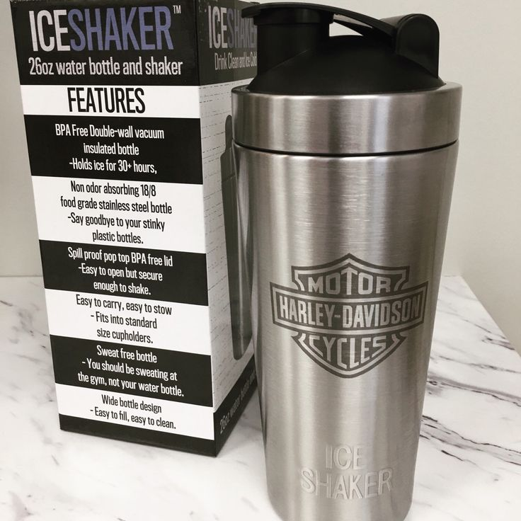 Personalized protein shaker bottle, Harley Davidson engraved water bottle.  Our vacuum insulated shaker bottle holds ice for over 30 hours!  The stainless steel bottle does not absorb odor! We can personalize with logos, motivational quotes, names, etc!