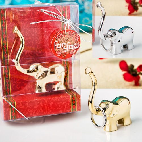 Good Luck Elephant Ring Holders (Silver or Gold) Wedding Favors, Party Favors #Indian