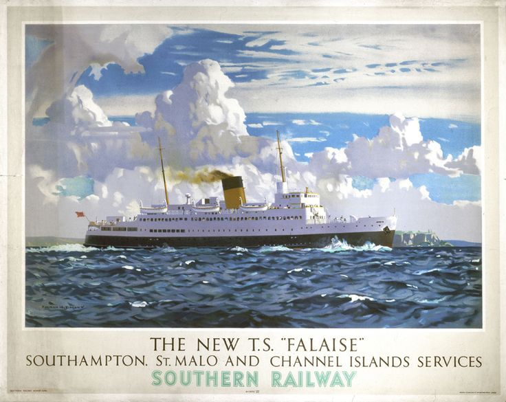 Poster produced for the Southern Railway (SR) to promote ferry services between Southampton,.17