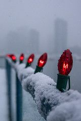I want to walk this and see the snow against the beautiful red Christmas lights.