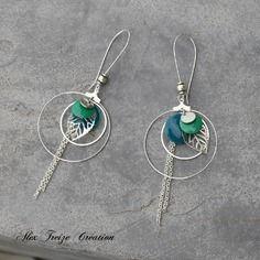Bijou créateur - boucles d'oreilles dormeuses créoles argentées breloques estampes feuilles et sequins émaillés bleu et vert