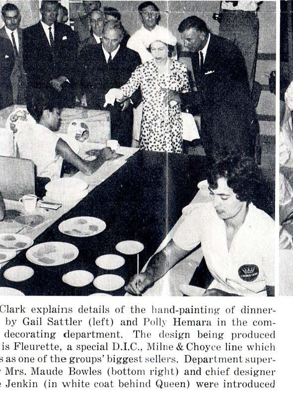 The Queen watching  a Crown Lynn production line on a NZ visit in 1964. From Valerie Monk's Blog all about CL