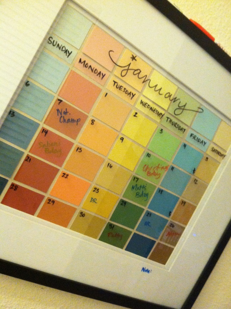 Dry erase monthly calendar! Colorful version!