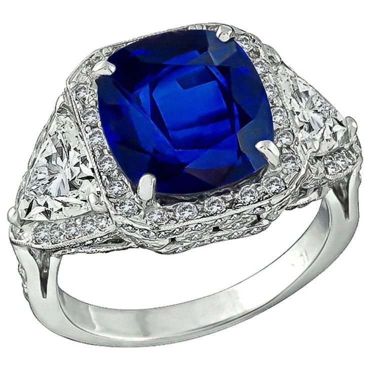 Stunning Natural 8.18 Carat Sapphire 1.99 Carats GIA Cert Diamonds Gold Ring 1
