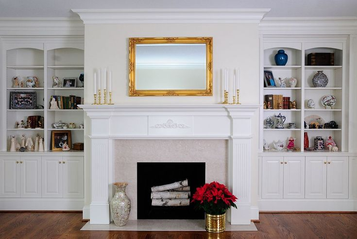 High end white custom cabinetry by ken leech todd bookcase for Bookshelves next to fireplace