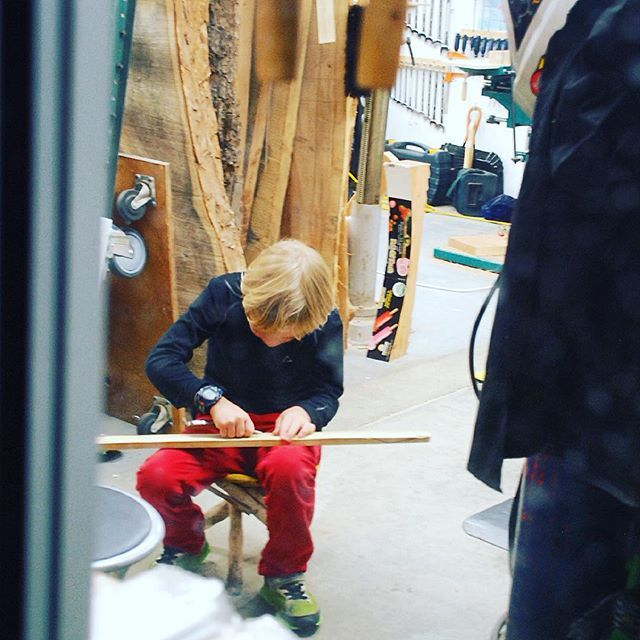 #feelgoodfriday looks like we have a budding woodworker in the family! This is Oden artisan Ryan's  son diligently working away. #ambitious #vancouer #woodworking