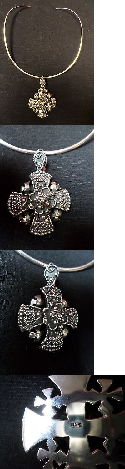 Necklaces and Pendants 98491: Mexican Sterling Silver .925 Cross Pendant Choker Necklace Crusader Yalalag -> BUY IT NOW ONLY: $175 on eBay!
