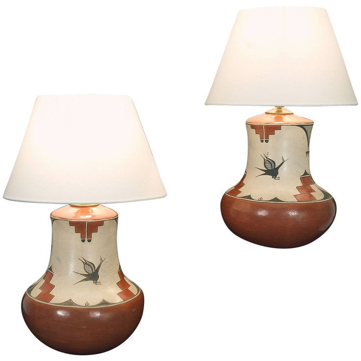 Two Native American Pottery Lamp Bases, Zia Pueblo | From a unique collection of antique and modern table lamps at…