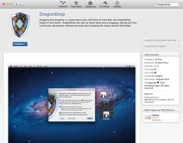 Apple Changes Its Mind, Lets DragonDrop Into Mac AppStore