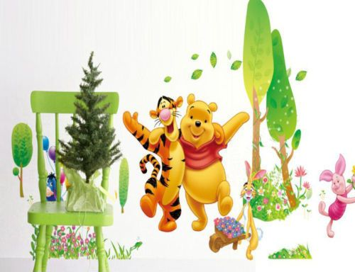 Simple Cheap Wall Decals Winnie the Pooh Tigger Playing Decor Wall Decals Sticker Nursery kids PVC