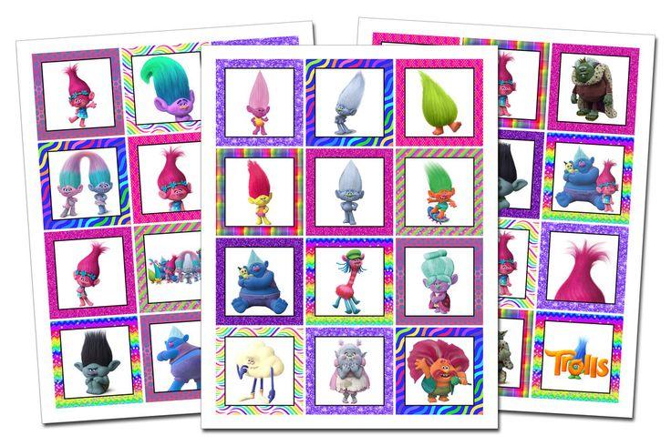 Тролли Бесплатно для печати Бинго игры в карты и телефонные карты
