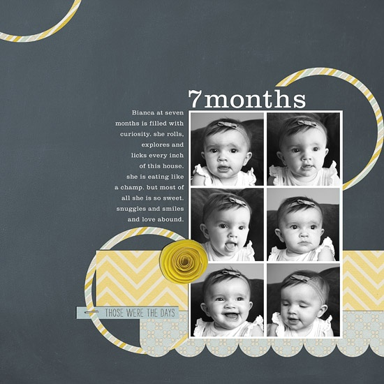 Like this for a monthly baby photo layout