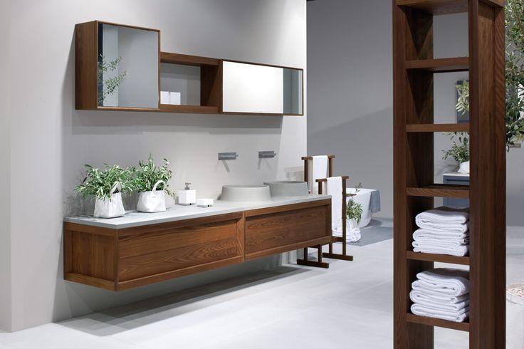 Bathroom ideas - floating storage to make the floorspace look bigger