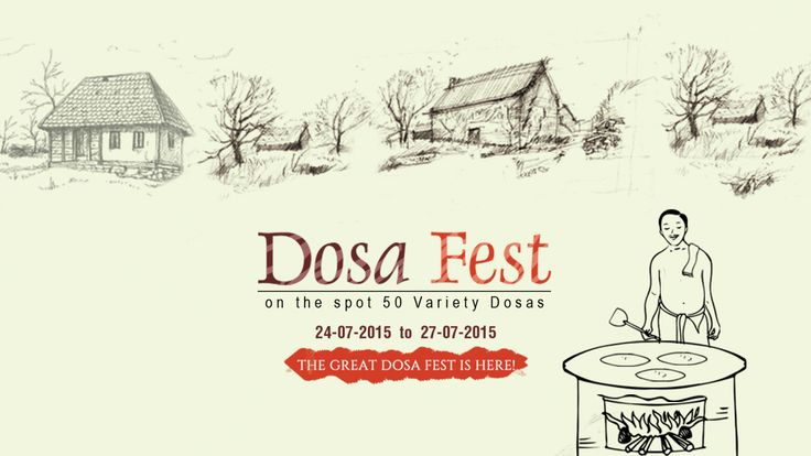 Crispy and softy 'Dosa Fest' is coming with Great launch From July 24th to 27th, 2015! Relish the real falvors of 50_DOSA_VARIETIES at #SriJanakiramHotel #Rooftop  Restaurant. #foodie #festival #DosaFest #carnival