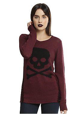 Burgundy & Bones // Burgundy Black Skull Destructed Girls Pullover Sweater