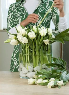 White Tulips and White Stones in Glass Container/Vase