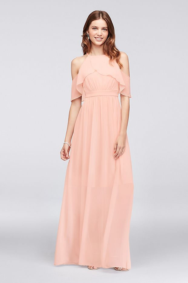 eafe40c392a9 This chiffon bridesmaid gown  s ruffled