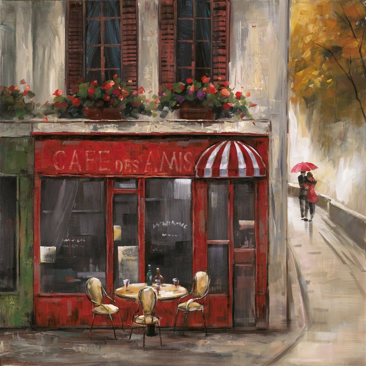 Revealed Artwork Cafe Des Amis Original Painting on Wrapped Canvas