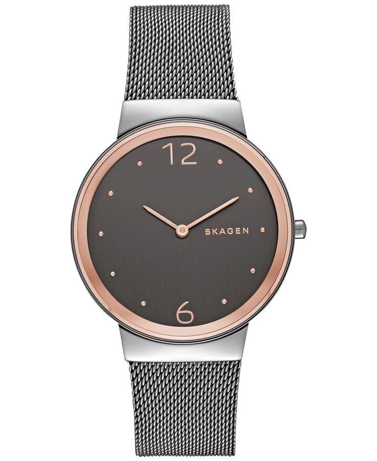 Skagen Women's Freja Smoke-Tone Stainless Steel Mesh Bracelet Watch 34mm SKW2382