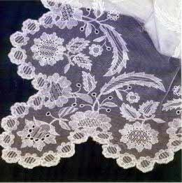 """""""Limerick Lace differs from all other Irish Laces in that it was a purely commercial enterprise started by an Englishman, whereas the rest were the outcome of the philanthropy of Irish ladies. In 1829 Charles Walker started a lace industry based on Nottingham lace in Limerick.... The beauty of Limerick Lace is its delicacy and the contrast between the outlines of the design and the filling stitches used."""""""