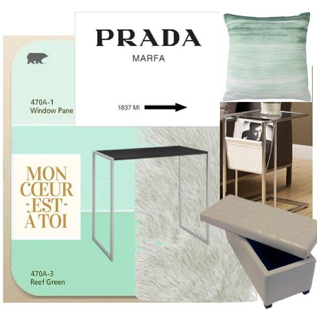 Serene-glam bedroom: Faux fur rug, tufted white leather ottoman, white out with touches of mint, gold and chrome
