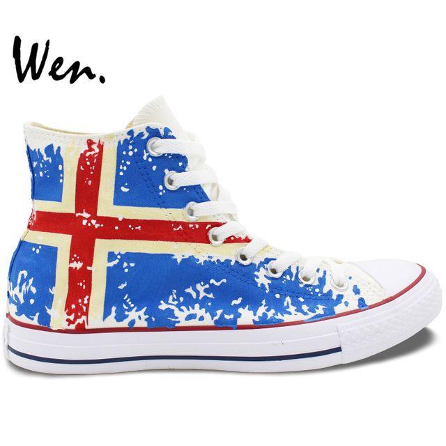 Вэнь Дизайн Пользовательского Ручной Росписью Обувь Исландия Флаг Высокий Верх Холст Кроссовки Подарки На День Рождения для Мальчиков Девочек