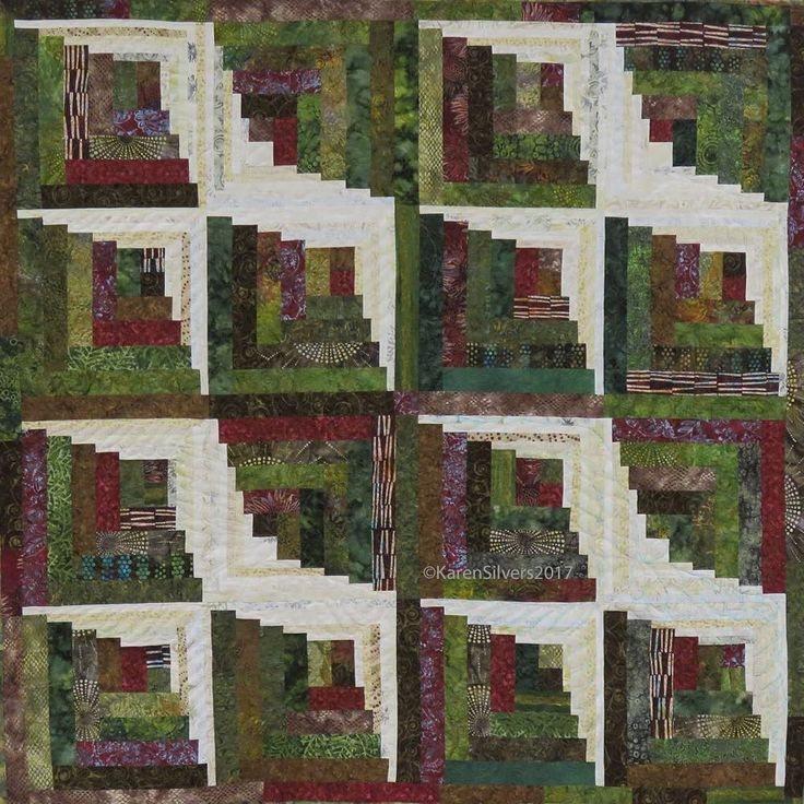 """14 Likes, 4 Comments - Karen Silvers (@ksilvers99) on Instagram: """"Log cabin """"In Flight"""" — finally finished! Can you see the birds? #quiltsofinstagram #quiltart"""""""