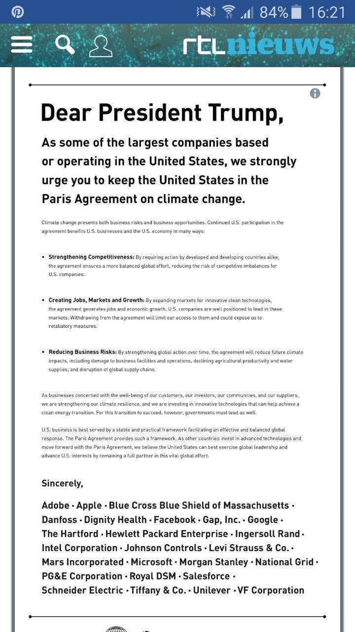 6/6/2017 Grote bedrijven smeken trump om  klimaatakkoord niet te torpederen. Noord-amerika Industrie Bedrijven zoals google,apple,facebook,... vragen trump nogmaals om het klimaatakkoord niet te verbreken.