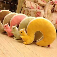 Hot Sprzedaż Kreskówka Piękny Wiewiórka w kształcie litery U Szyi Poduszki Poduszki Bawełniane Pluszowe Zabawki Dostawy Do Domu Masaż Biuro Nap Podróży poduszki(China (Mainland))