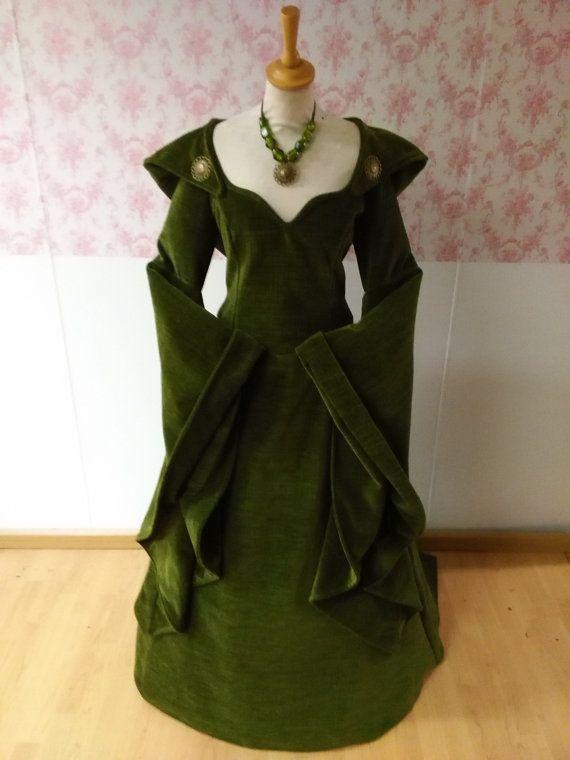 VERKOCHT!!! Luxe één van een soort middeleeuwse bruiloft jurk / Keltische bruiloft jurk / wedding gown / fantasy jurk / larp kleding / pagan bruiloft