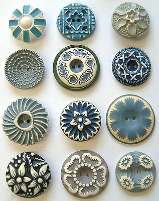 12 Vintage Blue/White Buffed Floral Celluloid Buttons