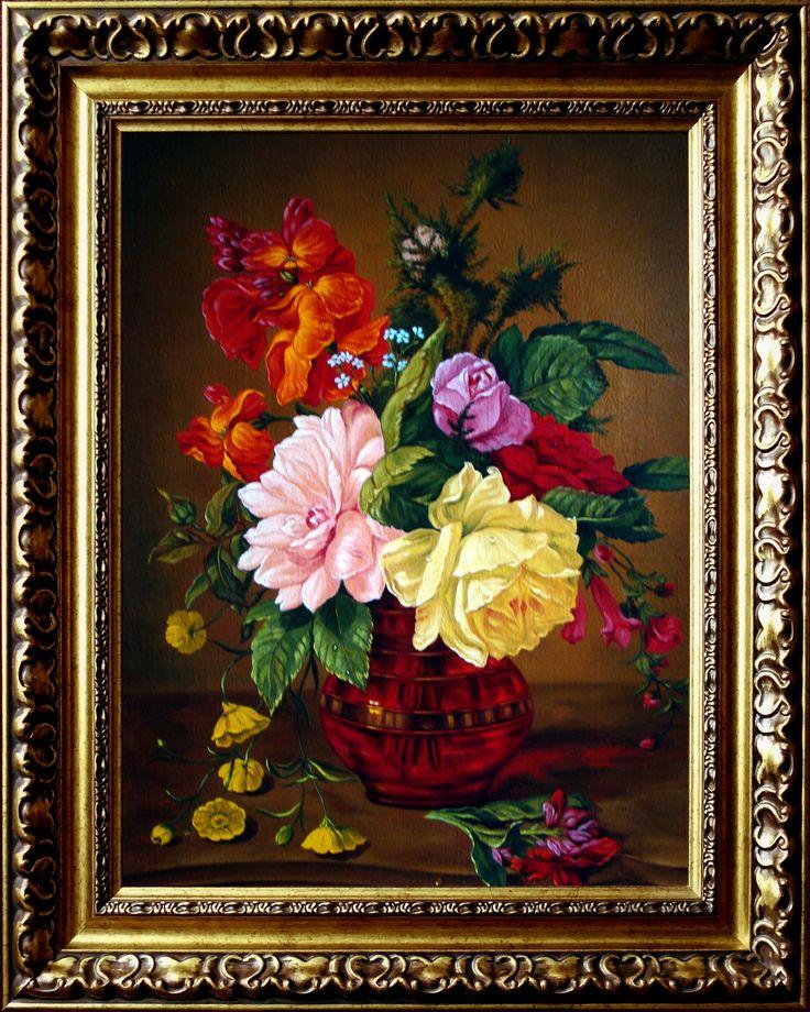 Bukiet kwiatów  w wazonie, 40cm x 30cm, Obraz olejny na płótnie