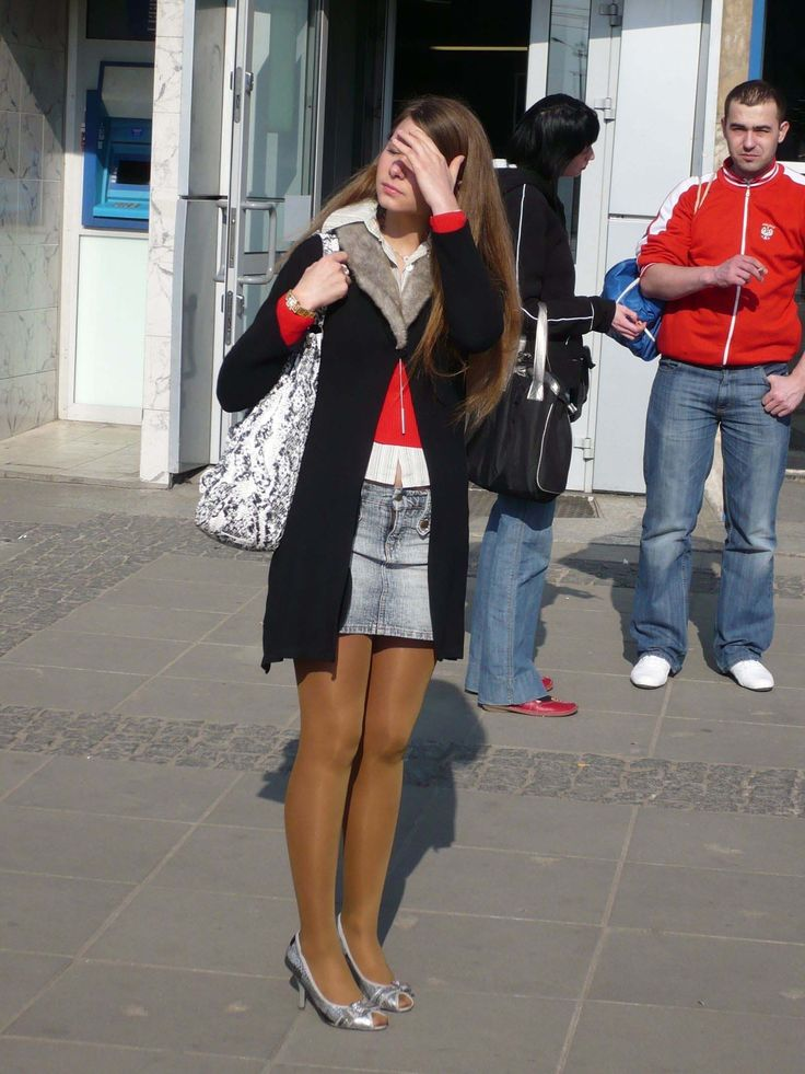 Marvelous Teen In Miniskirt Glossy Tights Pantyhose And