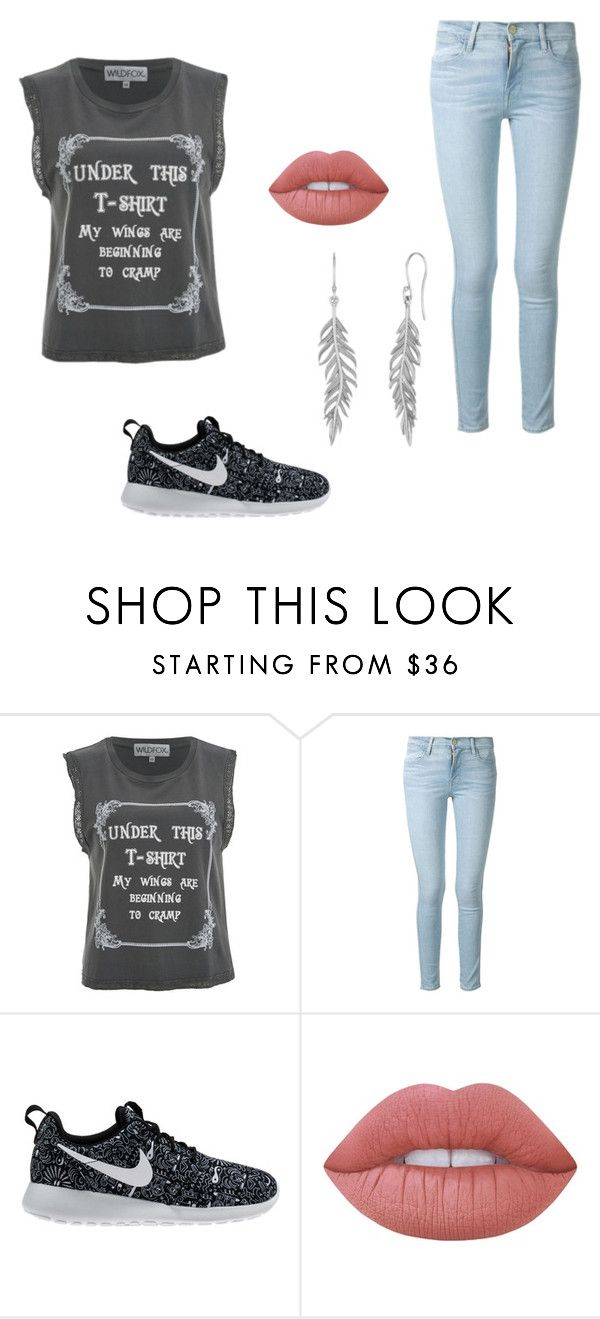 """Casual Movie"" by angela-lawlor on Polyvore featuring Wildfox, Frame Denim, NIKE and Lime Crime"