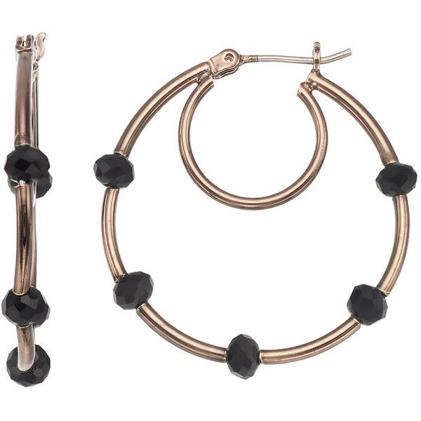 Simply Vera Vera Wang Beaded Nickel Free Double Hoop Earrings ($12) ❤ liked on Polyvore featuring jewelry, earrings, brown, yellow gold hoop earrings, beading hoop earrings, beaded earrings, nickel free hoop earrings and earring jewelry