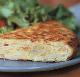 Spanish Potato Tortilla (Tortilla Espanola)  By: Sarah Jay  From: finecooking.com  There are so many variations to add, so customize it to your taste.  We ate it for breakfast, snack, lunch and dinner.  Hot or cold it is deliciousa!