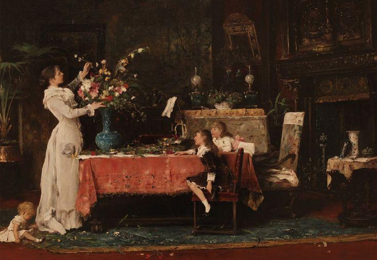 Munkácsy Mihály Készülődés a papa születésnapjára, 1882