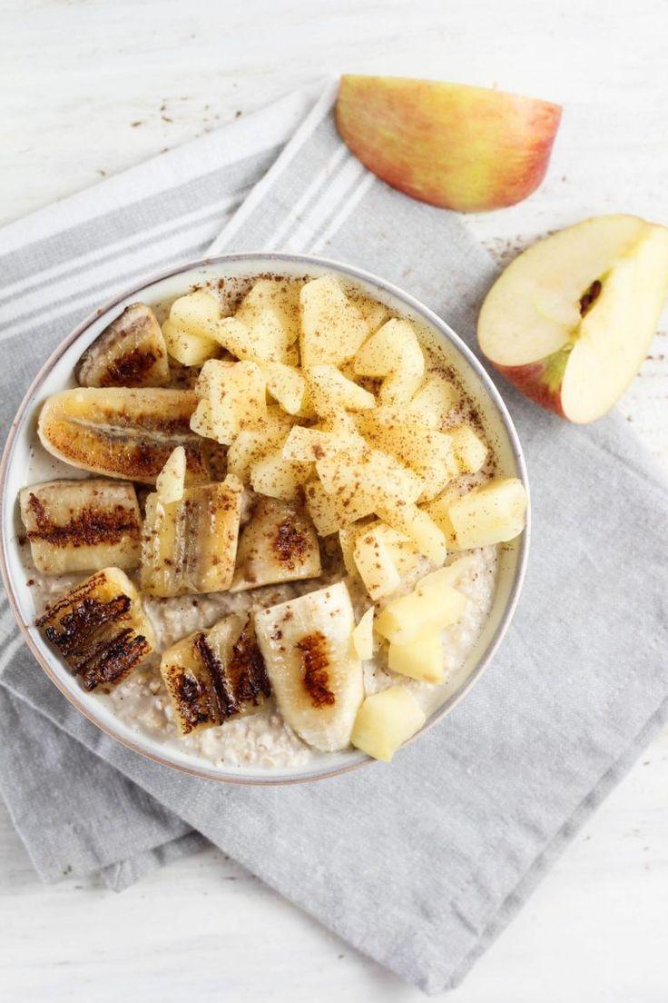 Cremiges Haferflockenmehl mit Bratapfel und Banane   – food