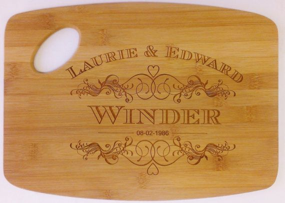 Wedding Cutting Board -  Personalized Laser Engraved, Wedding Present, Bride and Groom, Bridal Shower, Anniversary,