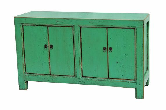 Aqua green recycled wood storage cabinet or sideboard.