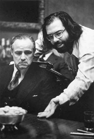 Marlon Brando and Francis Ford Coppola, 1971, by Steve Schapiro