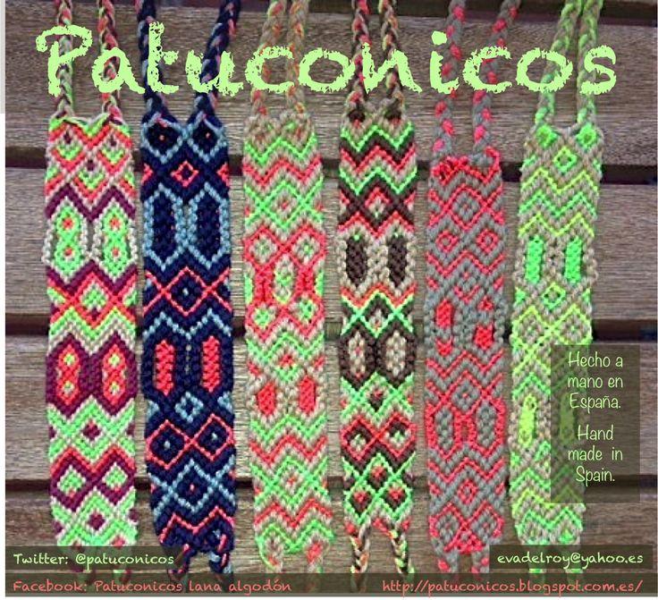 FriendShip bracelets Patuconicos hand Made in Spain. Pulseras de la amistad Patuconicos hechas a mano en España. 12€ cada brazalete doble (mas gastos de envio)www.facebook.com/... https://twitter.com/patuconicos/media