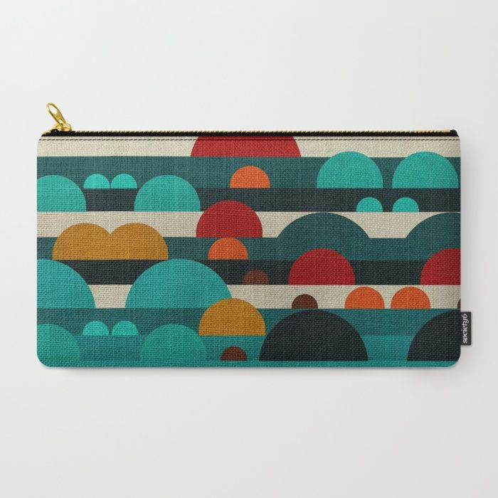"""""""Sundays"""" zip case by artist Bri Buckley. Each purchase supports the artist. Available in 3 sizes. This lovely colour-combo is also available on other products including floor rugs, laptop sleeves, shower curtains, and art prints"""